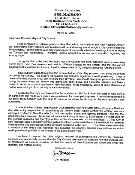 Legislator Maisano letter to City Council